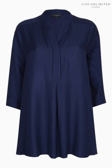 Live Unlimited Chambray Navy Blouse