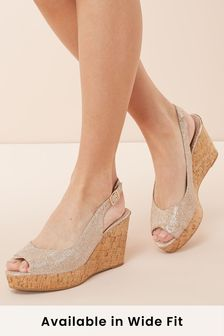 Slingback Cork Wedges
