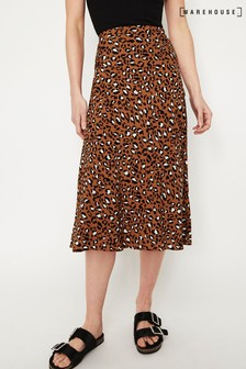 Warehouse Tan Leopard Print Midi Skirt
