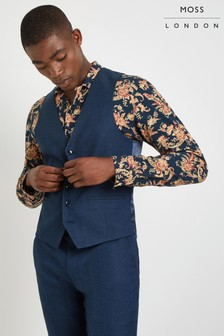 Moss London Skinny Fit Blue Waistcoat
