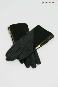 Warehouse Black Leather Suede Gloves