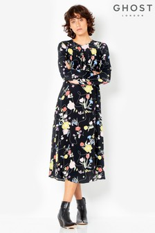 Ghost London Black Printed Greta Dress
