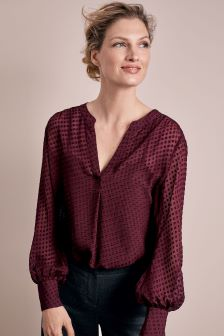 Pure Collection Rich Burgundy Silk Textured V-Neck Blouse