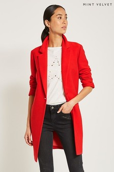 Mint Velvet Red Ribbed Duster Jacket
