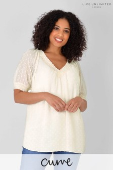 Live Unlimited Cream Curve Ivory Check Textured Chiffon Top
