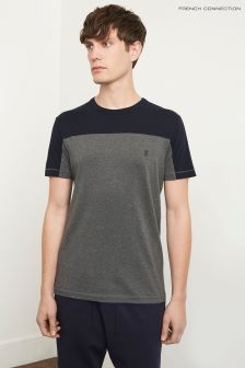 French Connection Blue Classic Cut And Sew Yoke Top
