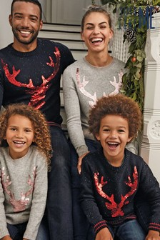 Womens Matching Family Flippy Sequin Stag Jumper