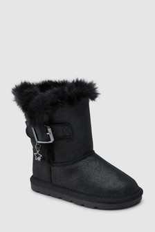 Faux Fur Trim Pull-On Boots (Younger)