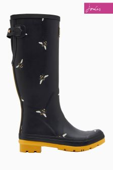 Joules Black Botenical Bee Print Welly