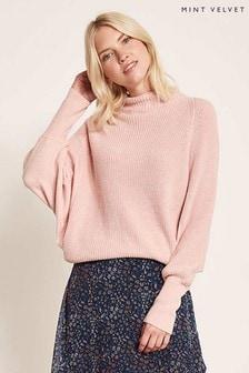 Mint Velvet Pullover mit Fledermausärmeln und nahtlosem, geripptem hohem Ausschnitt