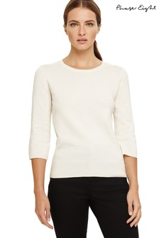 Phase Eight Cream Becca Stitch Detail Knitted Jumper