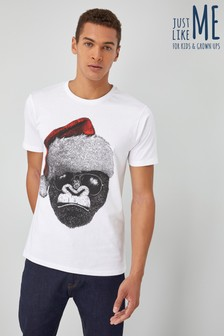 Мужская футболка с гориллой в роли Санты