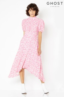 Ghost London Pink Printed Jenna Midi Dress