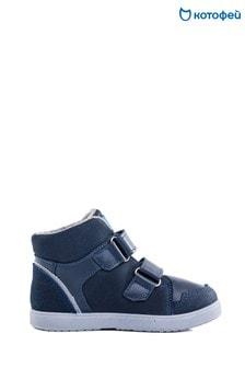 Темно-синие ботинки на двух липучках Kotofey