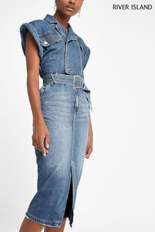 River Island Denim Midi Dress