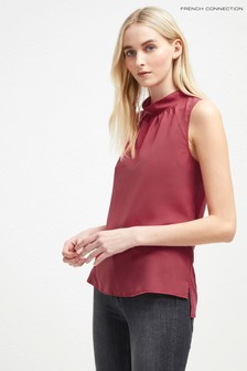 French Connection Red High Neck Top