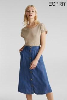 Esprit Blue Denim Skirt With Buttons
