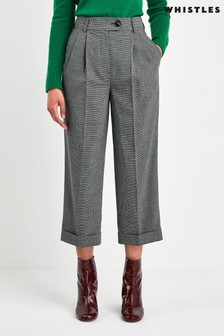 Whistles Grey Turn Up Crop Check Trousers