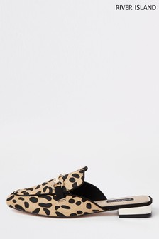 River Island Leopard Snaffle Backless Loafer