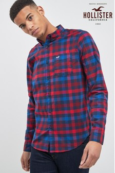 Hollister Navy Gingham Shirt