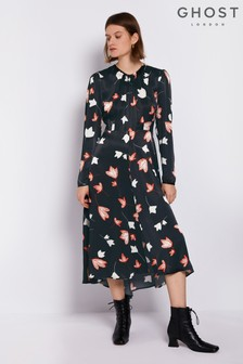 Ghost London Black Printed Ariel Satin Dress