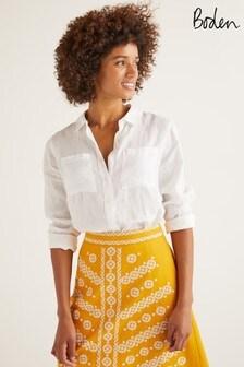 Boden White Linen Shirt
