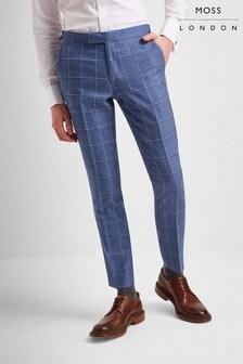 Moss London Premium Skinny Light Blue Windowpane Trouser