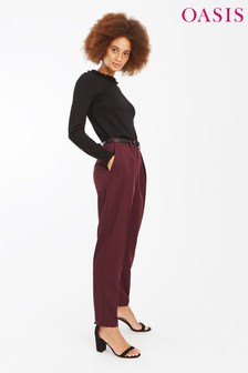 Oasis Mid Red Belted Peg Leg Trouser