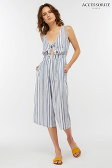 Accessorize Blue Woven Stripe Jumpsuit