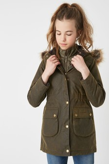 Barbour® Girls Thrunton Olive Wax Coat