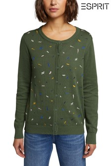 Esprit Green Long Sleeved Cardigan With Print