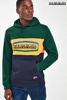 Napapijri Green Colourblock Logo Hoody