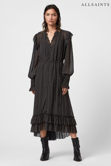 AllSaints Black Polka Dot Midi Dress
