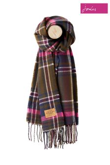 Joules Green Check Soft Handle Scarf