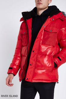 River Island Red Faux Fur Padded Jacket