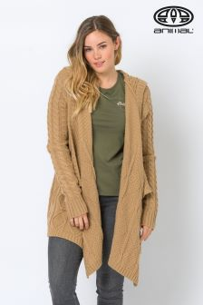 Animal Tan Tansey Knitted Waterfall Cardigan