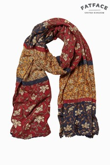 FatFace Red Stitchwork Floral Scarf