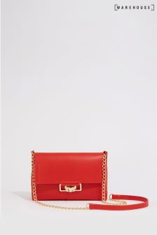 Warehouse Red Lock Chain Bag