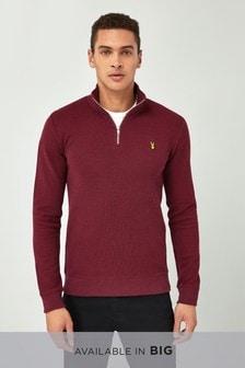 Teksturowana bluzka ze stójką, długim rękawem i naszywką