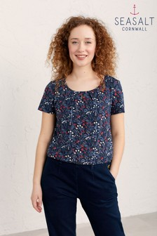 Seasalt Navy Winifred's Border Waterline Appletree Top