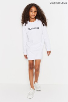 Calvin Klein Jeans White Logo Sweatshirt Dress