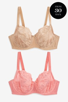 Lizzie DD+ Non Padded Lace Balcony Bras Two Pack