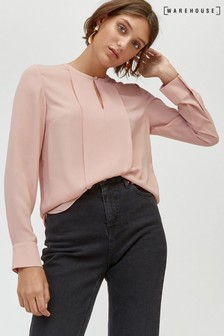 Warehouse Plain Button Long Sleeve Neck Blouse