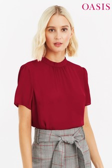 Oasis Red High Neck Formal Tee