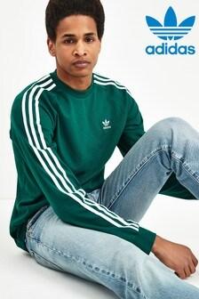 adidas Originals Green 3 Stripe Long Sleeved T-Shirt