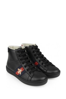 Leather High Top Black Trainers