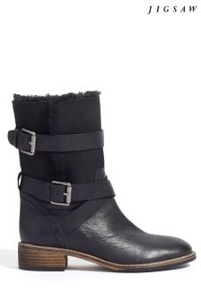 Jigsaw Black Ruban Shearling Biker Boot