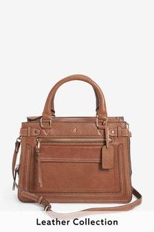 Leather Hummingbird Detail Tote Bag