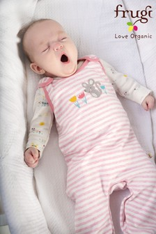 Frugi Pink My First Outfit Mouse Organic Cotton Babygrow