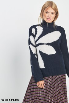 Whistles Navy Palm Knit Jumper